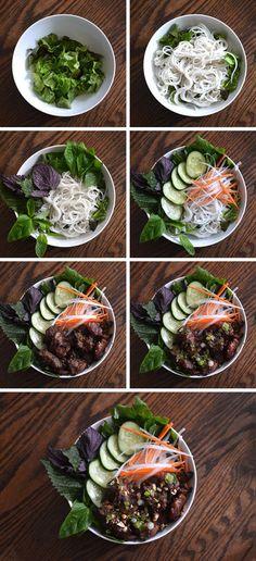 Bún Thịt Nướng Recipe (Vietnamese Grilled/BBQ Pork with Rice Vermicelli & Vegetables) Pork Recipes, Asian Recipes, Chicken Recipes, Cooking Recipes, Healthy Recipes, Ethnic Recipes, Indonesian Recipes, Orange Recipes, Cooking Tips