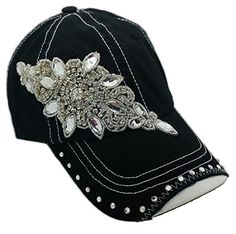 eb47546bd505b Amazon.com  Cap Couture Women s Baseball Flashy Flower Hat Black One Size   Books