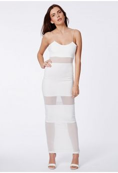 Missguided - Asmee White Mesh Panel Strappy Maxi Dress