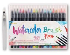 High quality soft tip brush pens - essential tools for any artist! The perfect gift for the art lover in your life.  NOT SOLD IN STORES! Pre-Order: estimated ship date is Feb 8, 2017! Beautiful traditional color aqueous dye ink Includes: Aqueous dye brush pen × 20, and one extra water brush × 1