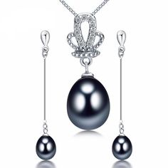 Gorgeous Multi-Color Pearl Pendant & Earring Set. Up To 75% OFF + FREE SHIPPING!  #Necklace #Earrings #JewelrySet #FreeShipping #DazzlingSeaJewelry
