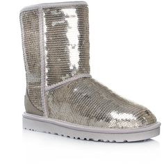Ugg Australia Classic Short Silver ($210) ❤ liked on Polyvore