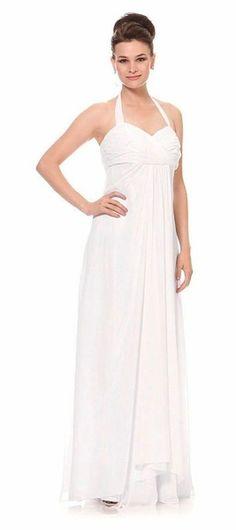 White Formal Evening Dress Flowy Chiffon Skirt Halter Full Length $135.99