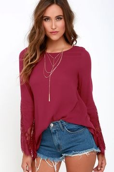 Watching the Waves Berry Red Long Sleeve Lace Topat Lulus.com!