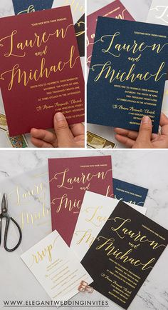 Chic foil calligraphy wedding cards in various colors