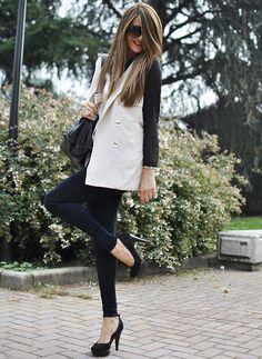 two-tone (by Nicoletta Reggio) love the sleeveless trench coat http://lookbook.nu/look/2539531-Two-Tone