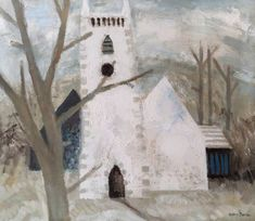 'The White Church' by Valerie Thornton, Art Uk, Seasons, Outdoor Decor, Painting, Winter, Winter Time, Seasons Of The Year, Painting Art, Paintings