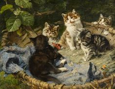 The Athenaeum - Five Kittens in a Basket (Julius Adam - )