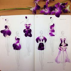 Designer cleverly incorporates real flower petals in her fashion illustrations