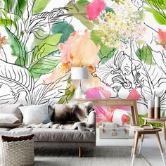 Tuya Art floral wallpaper modern pencil watercolour painting flowers wall mural on wall for livingroom home decor free shipping