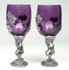 Colored Wine Glasses | vines wine glass or communion cup purple crystal vines wine glass ...