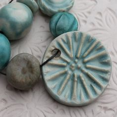 Stoneware Pendant and Bead Set in Turquoise