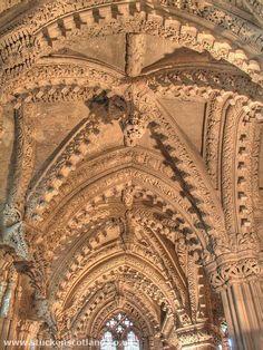 Astonishing carved stone ceiling of the Lady Chapel in Rosslyn Chapel, near Edinburgh, UK