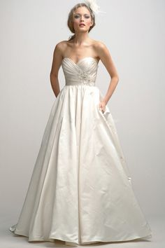 Empire Sweetheart Embroidery A-Line Chapel Train Taffeta Wedding Dress for Summer