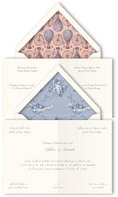 Dos modelos de invitaciones de bodas con sobre con forro interior en diseño vintage de Querida Valentina #invitaciondebodas #weddinginvitations #tendenciasdebodas