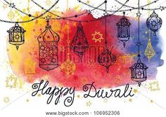 Happy Diwali hanging lamps and Watercolor splash royalty free illustration Diwali Greeting Card Making, Happy Diwali Cards, Happy Diwali Pictures, Greeting Card Video, Diwali Wishes, Greeting Cards Handmade, Diy Diwali Cards, Diwali Craft, Diwali Diy