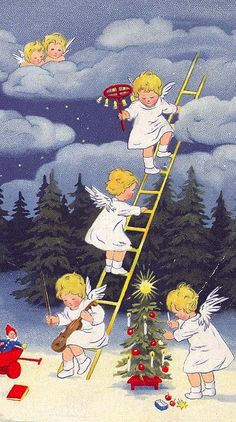 Little angels decorating the forest trees for Christmas. Vintage.