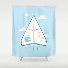 Airmail - via paper plane ! Shower Curtain