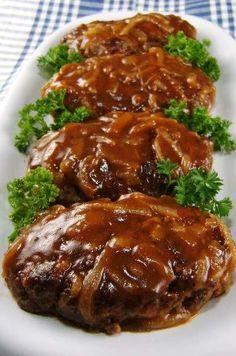 salisbury steak w/ caramelized onion gravy.........