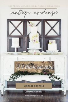 A vintage credenza cake display is a fun way to add a vintage design element to your wedding style. Rent vintage furniture at Orange Trunk Vintage Rentals in Calgary, Alberta. Image by Grey Lily Photography. Vintage Dessert Tables, Vintage Buffet, Vintage Sideboard, Vintage Furniture, Furniture Decor, Wedding Cake Display, Wedding Cakes, Wedding Vendors, Vintage Sewing Table