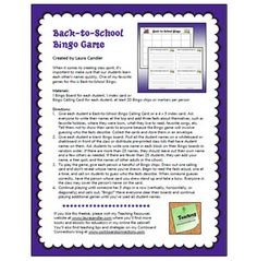 FREE Back-to-School Bingo to help students learn their classmates' names - includes game directions, blank Bingo board, and calling cards
