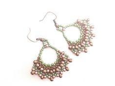 beadwoven handmade earrings seed beads earrings green by tizianat