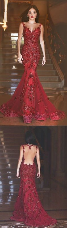 Gorgeous Red Mermaid V-neck Backless Prom Dresses with Beading Appliques For Spring Teens by DestinyDress, $217.31 USD