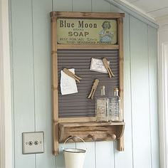 Old Washboard...re-purposed into a prim memo board/shelf unit.   I believe this is a new item, but I would use an old washboard to recreate this look.   Picture only for inspiration.