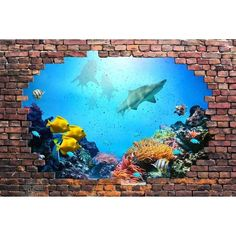 3D Visual Effect Self-adhesive Vinyl Wallpaper Removable Modern... ($60) ❤ liked on Polyvore featuring home, home decor, vinyl home decor, sea home decor, modern home accessories, modern home decor and mod home decor
