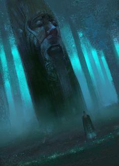 in the grove, Alexandr Komarov on ArtStation at https://www.artstation.com/artwork/Kz9Xy