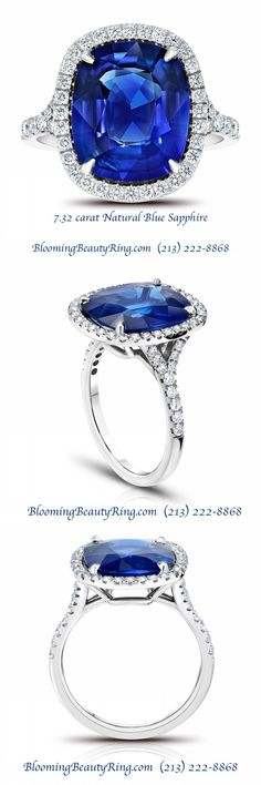 BloomingBeautyRing.c  BloomingBeautyRin...  (213) 222-8868 - Handmade 7.32 carat Natural Blue Sapphire  #EngagementRing  created in a  #HaloDiamondRing  style - This gorgeous ring is from the handcrafted  #RoyalColors  collection created by the master jewelers of  BloomingBeautyRin...