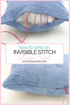 INVISIBLE STITCH - Ladder Stitch/Slip Stitch Tutorial The ladder stitch (slip stitch) is an important technique to create invisible stitch closures. Learn how to do a ladder stitch step by step for beginners. Sewing Basics, Sewing Hacks, Sewing Tutorials, Sewing Crafts, Sewing Patterns, Sewing Tips, Dress Tutorials, Dress Patterns, Sewing Ideas