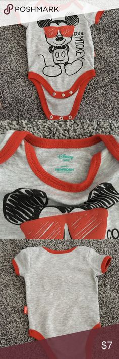 Disney baby onesie Disney baby Mickey Mouse newborn onesie, black/red/gray, preowned work once in great condition Disney One Pieces Bodysuits