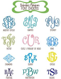 Embroidery Font Options for Monkey See Boutique