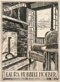 EX LIBRIS: Antique Book Plates : Armchair and Hearth. Ex Libris for Laura Hubbell Hoeber at Davidson Galleries