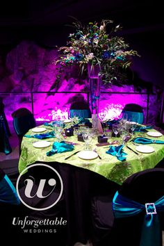 Unforgettable Weddings Sudbury Ontario Wedding Decor, Party Decor, Special Event Decor Cavern Science North #weddingdecor #wedding #decor #colour #peacock Wow Factor, Event Decor, Ontario, Special Events, Peacock, Photo Galleries, Wedding Decorations, Science, Colour