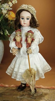 Bread and Roses - Auction - July 26, 2016: 229 Expressive French Bisque Paris Bebe by Emile Jumeau with Two All-Original Play Dolls