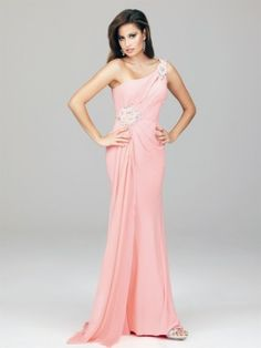 A-line One Shoulder Beaded Unique Rhinestone Chiffon Pearl Pink 2013 Evening/Prom Dressses