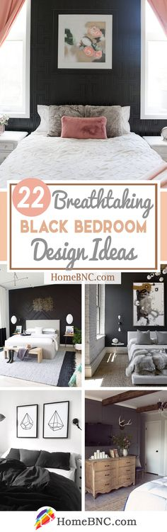 22 Ways to Make a Black Bedroom Beautiful and Inviting - Homebnc.site - Beautiful and Creative Home Design and Decor Ideas Black Painted Walls, Black Walls, White Walls, Black Bedroom Decor, Black Bedroom Design, Bedroom Ideas, Small Bedside Lamps, Light Colored Wood, Home Decor Inspiration