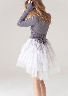 lightweight wrap sweater with toile skirt