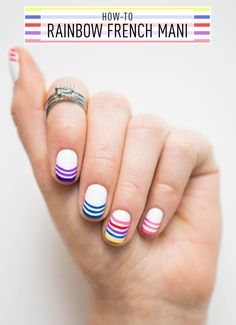 Nail Art How-To: Rainbow French Manicure - Because who doesn't love rainbows?