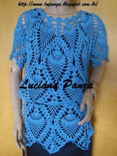 Blusa de crochê, com gráfico, usada por LUCIANA PANZA, no programa mulher.com, do dia 12/03