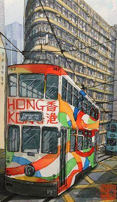 Hong Kong Tram Hong Kong Building, Hong Kong Art, British Hong Kong, Kindergarten Art Projects, Hongkong, Travel Drawing, World Cities, Urban Sketchers, Japan Art