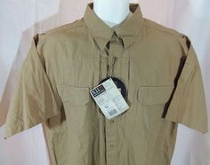 Men's 5.11 Tactical Series 71152 XL Woven Cotton Shirt Coyote Brown Short Sleeve #511TACTICAL