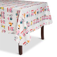 The Summer Ice Cream Vinyl Tablecloth brings a playful vibe to your summer table. It helps protect your tabletop, too. Sturdy and stylish, this outdoor tablecloth is perfect for summer entertaining or everyday meals.
