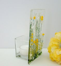 Glass Votive Candle Holders, Glass Tea Light Holders, Votive Candles, Surf Decor, Christmas Gifts For Friends, Fused Glass, Tea Lights, Daisy, Glass Lanterns