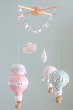 Pink Aqua Baby Mobile Hot Air Balloon Nursery by sunshineandvodka