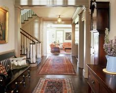 Rugs or foyer. traditional hall by Gast Architects Villa Plan, Rug Rules, Home Interior, Interior Design, Rug Placement, Entry Hallway, Entry Way Rugs, Grand Entryway, Upstairs Hallway
