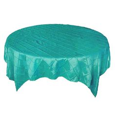 60 x 60 Teal Turquoise Pintuck Table Overlay
