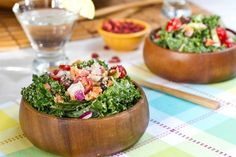 weekend glow kale salad      * 1/2 large head of kale (about 4-6 cups)     * 1 cup finely chopped red onion     * 1/2 red bell pepper (sub anaheim)     * 1/2-3/4 cup chopped carrot (sub raw yam)     * 1 English cucumber (2 cups chopped halves)     * 1 avocado, chopped     * 1 & 1/4 cup chopped grape tomatoes (or other variety)     * 1/2 cup mixed raisins and Goji berries     * 1/4 cup hemp seed     * 1/3 cup chopped walnuts     * Dressing: 1 batch of Lightened Up tahini-Lemon…